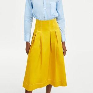 Zara Rok Yellow Pleated Midi High Rise Skirt XS
